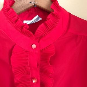 Vintage red ruffle blouse